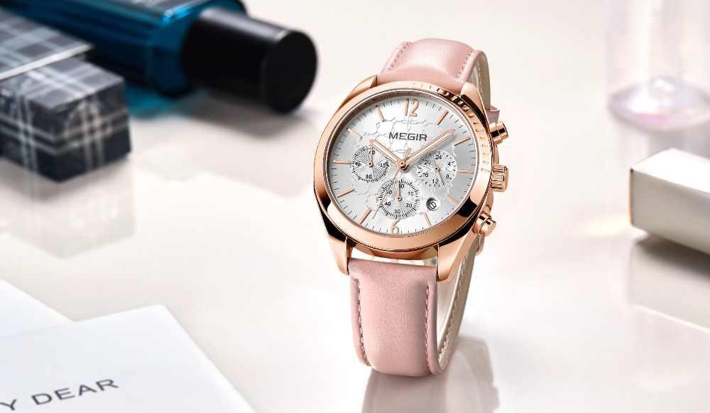 997bd411fce ... Megir 2018 Women s Leisure Quartz Watches 24 Hours Leather Strap  Waterproof Chronograph Wristwatch Lady Relogios Femininos ...