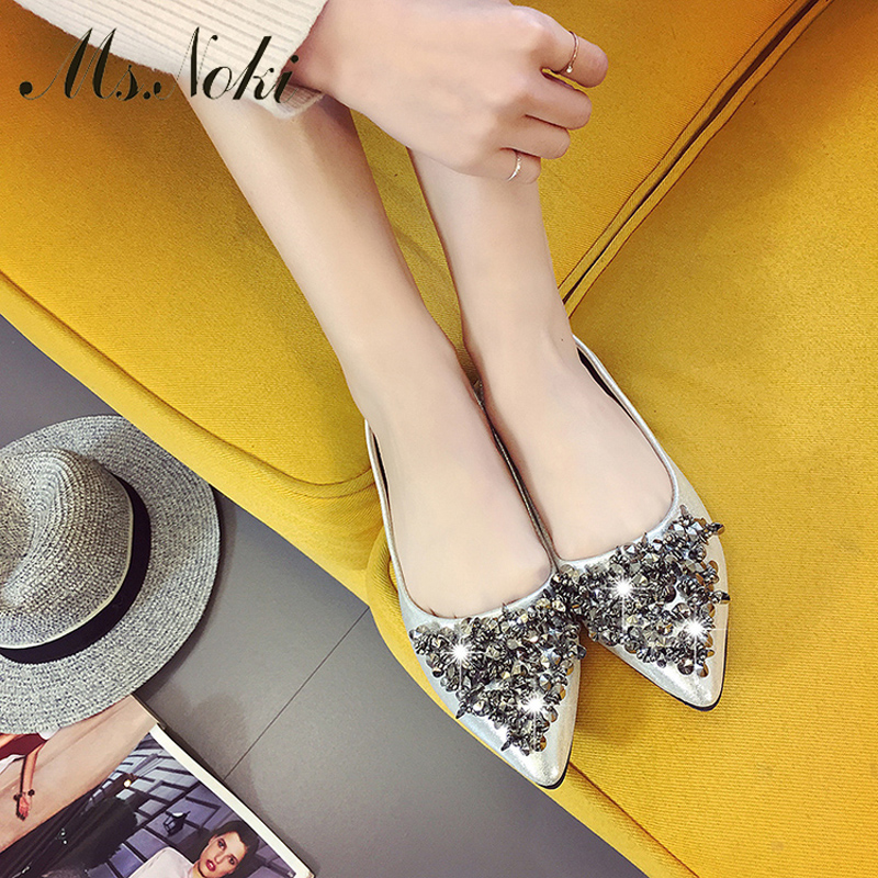 Ms. Noki spring women Shallow flats with String Bead adult spring casual normal size shoes leisure ballet flats Classics flat 2017 womens spring shoes casual flock pointed toe narrow band string bead ballet flats flat shoes cover heel women flats shoes