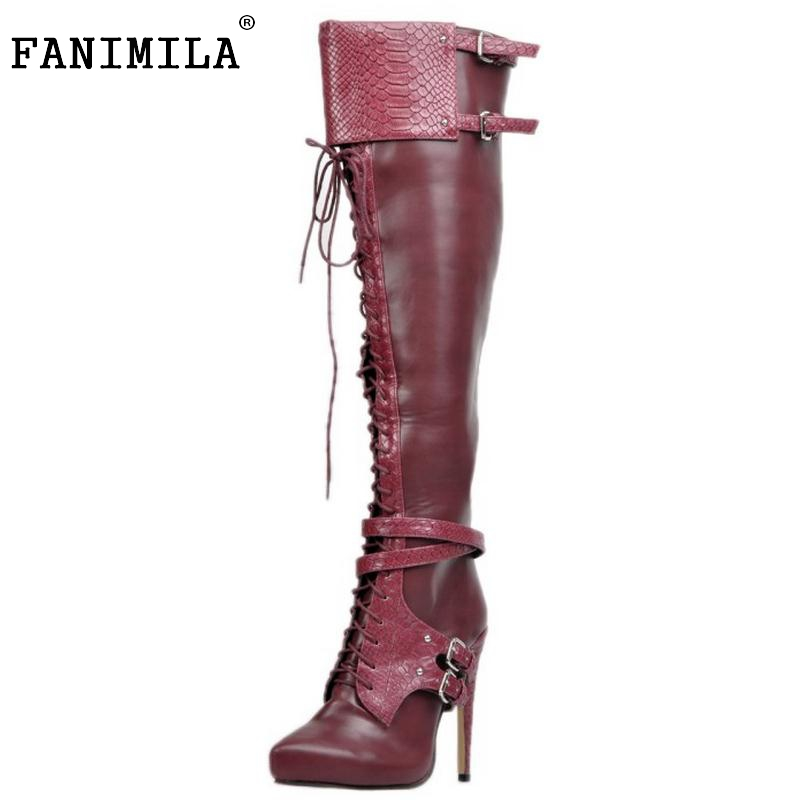 Brand New Women Thin High Heel Over Knee Boots Woman Pointed Toe Knight Boot Fashion Lace Up Buckle Heels Shoes Size 34-47 cicime summer fashion solid rivets lace up knee high boot high heel women boots black casual woman boot high heel women boots