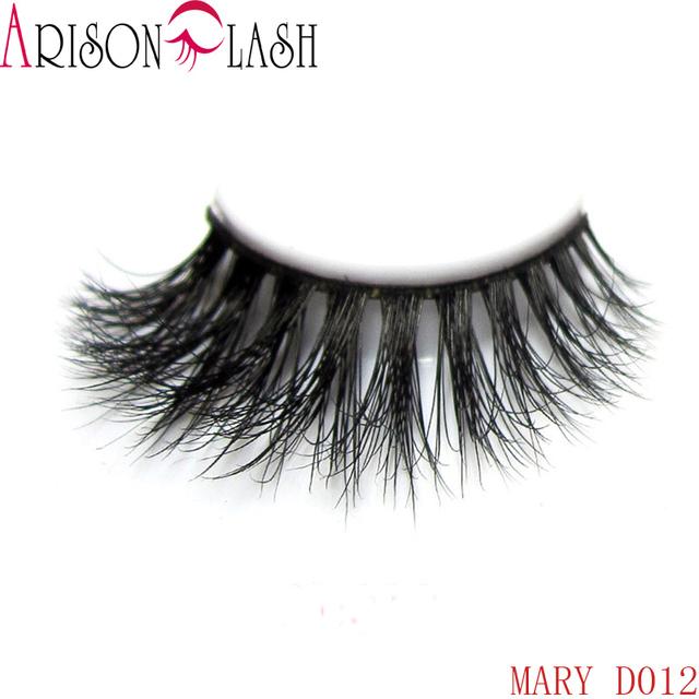 Arison 3D Natural Longos e Grossos Autêntica Vison Cílios Postiços Para Maquiagem 1 Par Pacote de Cílios Tira Completa