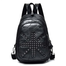 Famous Brand Women Backpack Soft Skin PU Leather Luxury Designer Casual Crossbody bag Female High Quality Rivet Shoulder Bags ulrica 2017 new arrival vintage casual new style leather school bags high quality hotsale women famous designer brand backpack