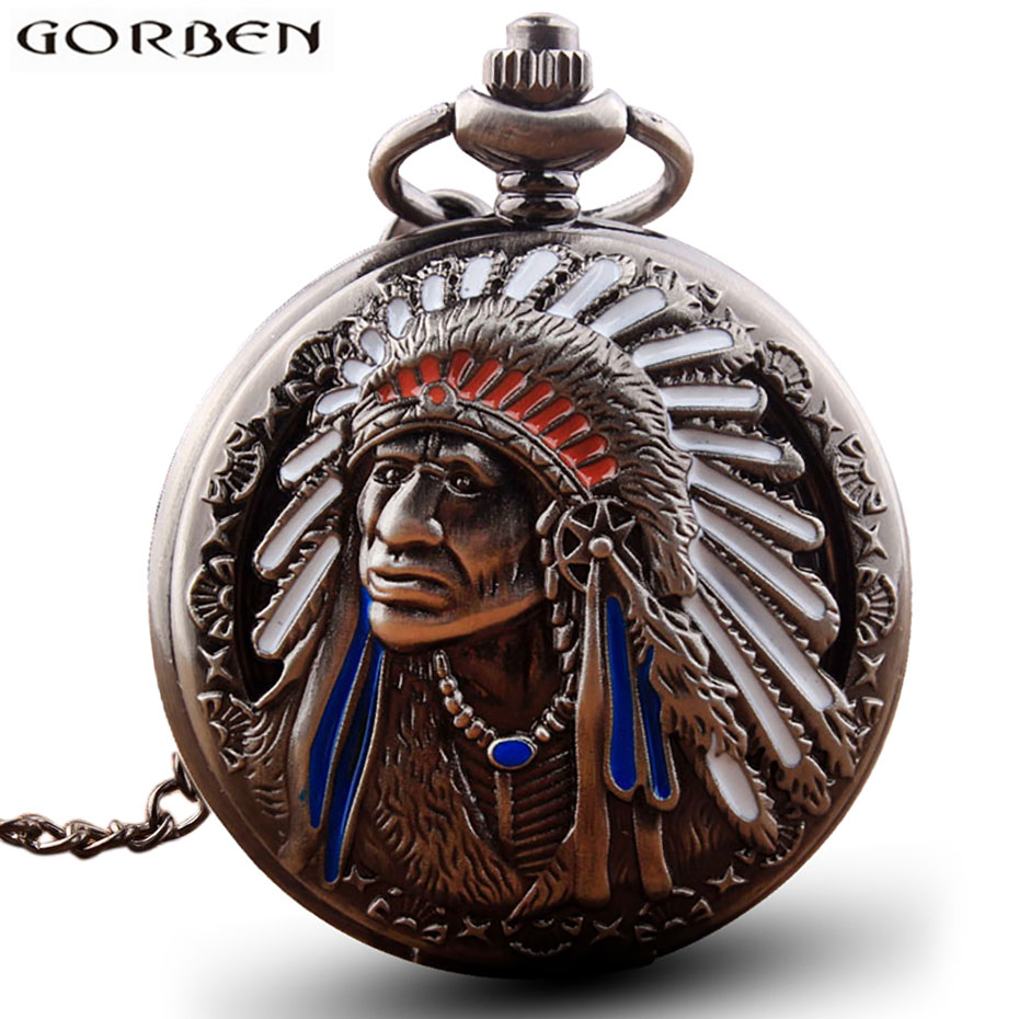 Antique Retro Indian People Copper Quartz Pocket Watch Chain Bronze Fob Watches For Men Gift Relogio De Bolso