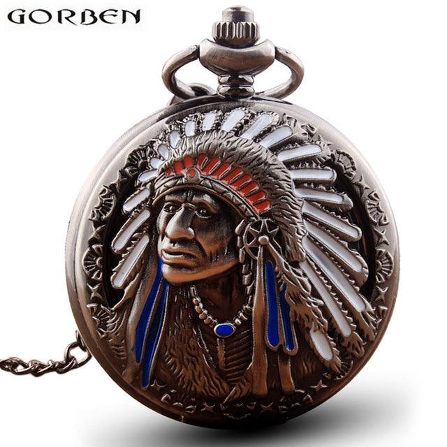 Antique Retro Indian People Copper Quartz Pocket Watch Chain Bronze Fob Watches