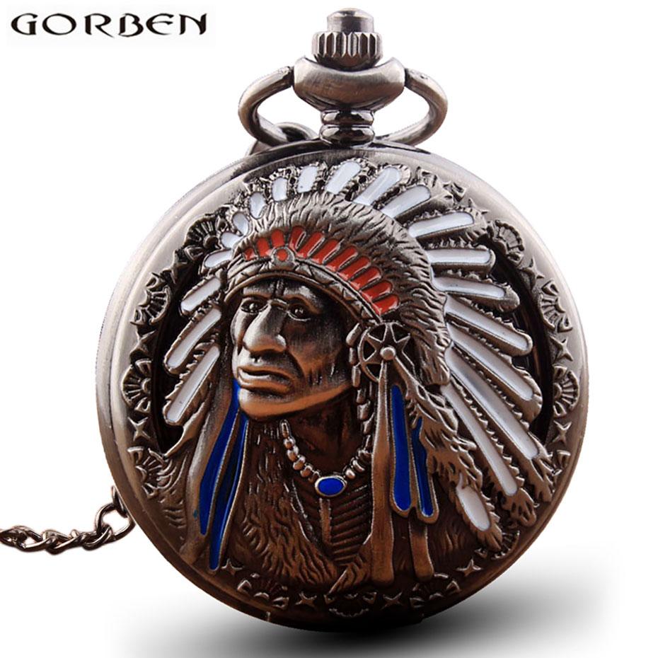 Antique Retro Indian People Copper Quartz Pocket Watch Chain Bronze Fob Watches for Men Gift Relogio De Bolso