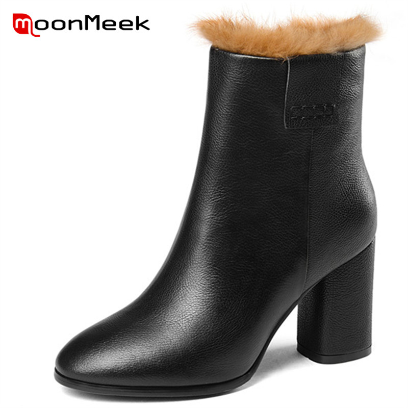 MoonMeek 2018 hot sale ladies genuine leather boots popular round toe ankle boots fashion autumn winter women high heel boots цена 2017