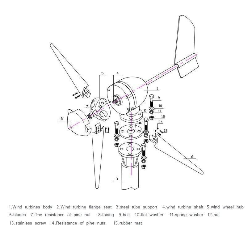 500w 12v24v48v 35 Blades Horizontal Wind Turbine Generator Home