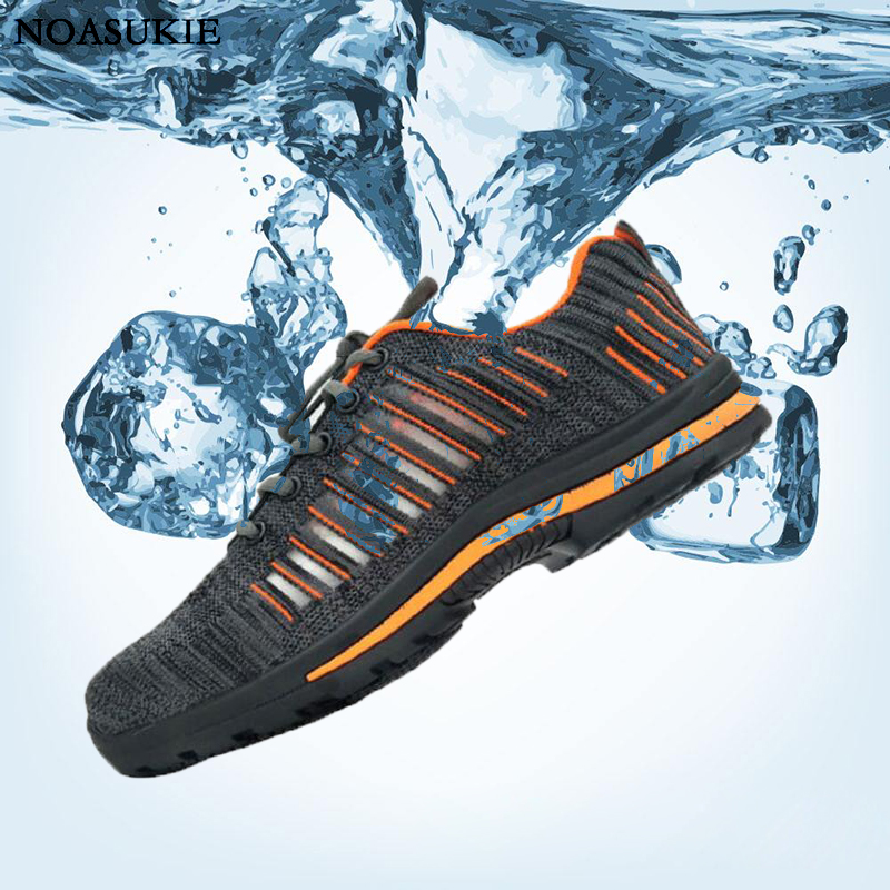 Safety Shoes Of Man Summer Work Shoes Lightweight Breathable Mesh Anti Smashing Puncture Steel Toe Shoes Boots Man
