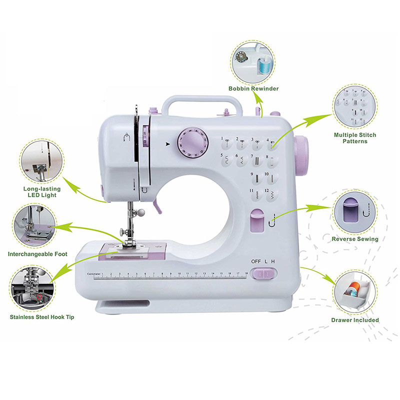 Portable Multifunction Domestic Household Sewing Machine With 12 Built-In Stitches Double Thread Foot Pedal Maquina De Costura