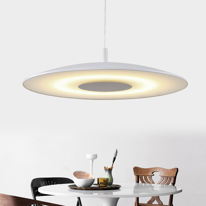 new 49cm LED dining room pendant light modern minimalist Nordic dining room study creative circular bedroom pendant lamp new led wall light creative footprint dimming lamp for bedroom dining room lamp acrylic circular sitting room lighting
