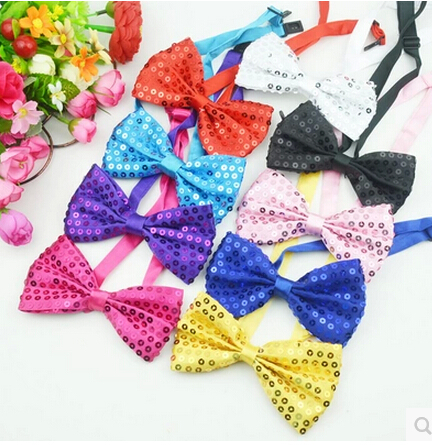 DKBLINGS  12pcs Fashion Kids Sequin Bow Tie Adult Shinny Bowties Cosplay Bow Magic Performance Bowtie Adjustable