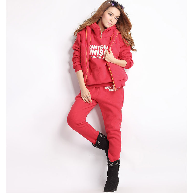 Explosion 2019 Autumn And Winter Women's Fashion Fleece Three-piece Sports Suit Female Casual Hooded Sweater Girls Warm Clothing