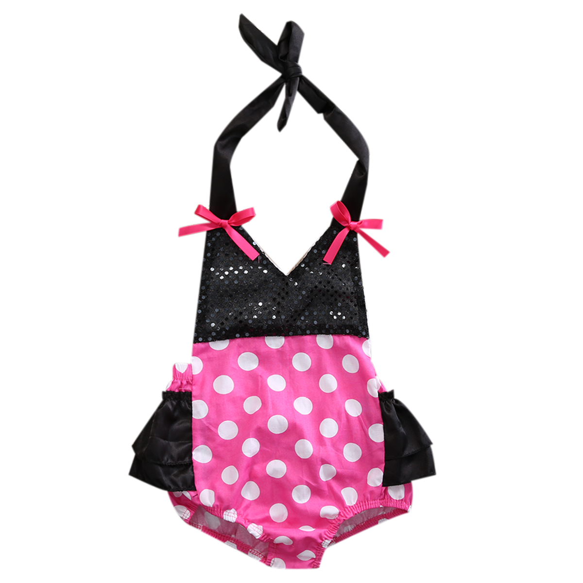 2018 Infant Baby Girls Pink Polka Dots Bodysuit Babies Gir Halter Backless Outfits Sunsuit Clothes