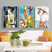 Elegant Lady Saxophone Gentlemen Picasso Style Art Print Figure Canvas Painting Nordic Decor for Living Room Modular Pictures
