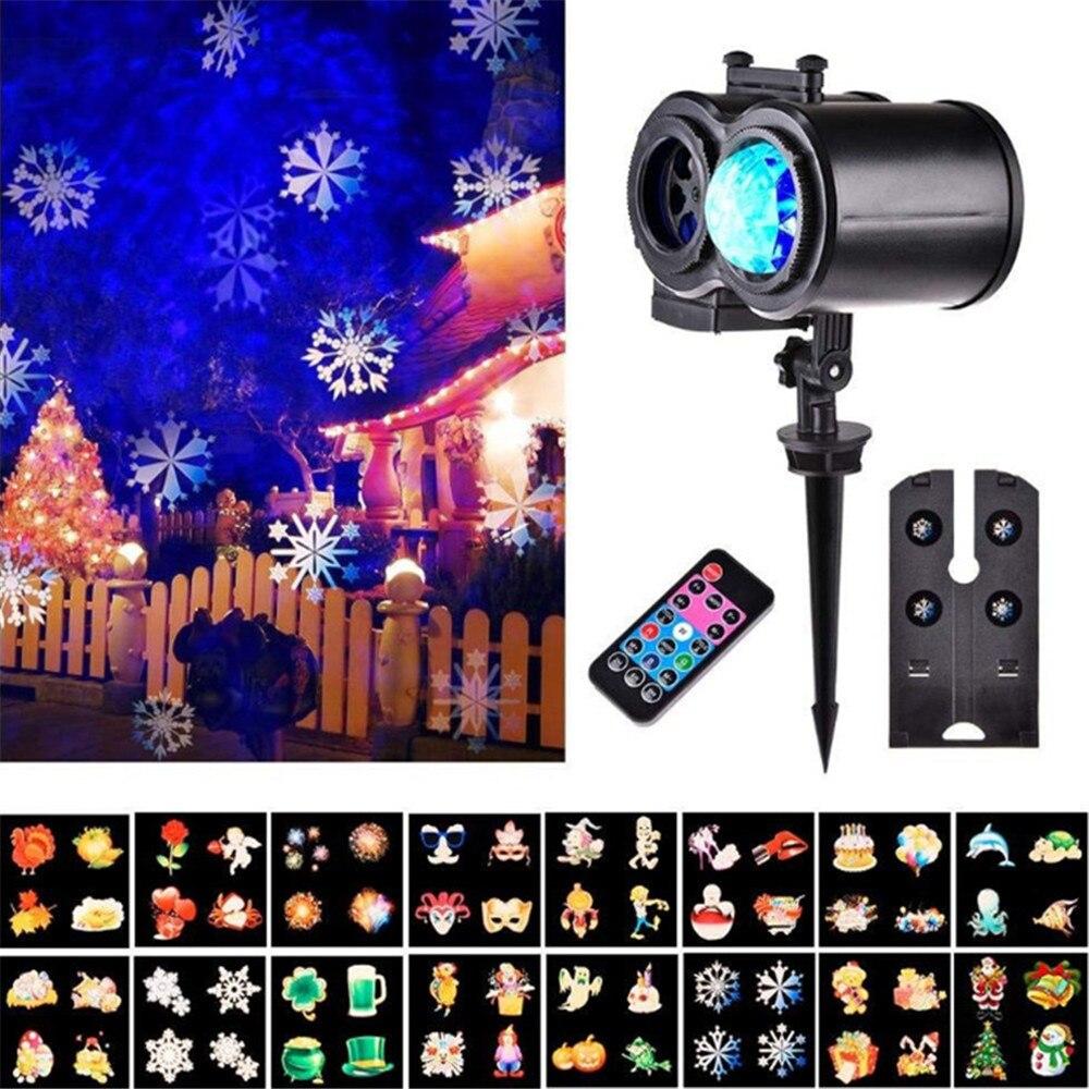 Işıklar ve Aydınlatma'ten Sahne Aydınlatması Efekti'de Su geçirmez 2 in 1 LED Noel projektör ışık + Su dalga lambası uzaktan kumanda ile Peyzaj Sahne Işık Kapalı Açık AC100 240V