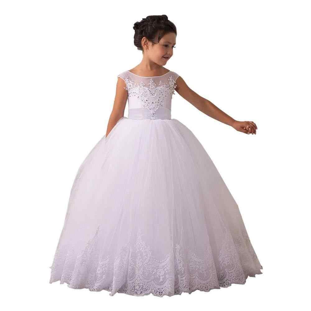 Vestidos de Meninas de flor Vintage Longo Lace Primeira Comunhão Pageant Bola Vestidos Ocasião Formal Novo da criança pageant vestidos