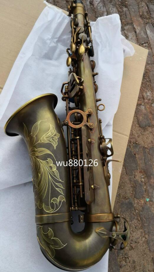 Brand NEW Mark vi Alto Saxophone Antique Copper Simulation Professional Sax Mouthpiece With Case and Accessories soprano saxophone bb curved sax high f with case the blue silver keycopper simulati copper simulation soprano saxophone
