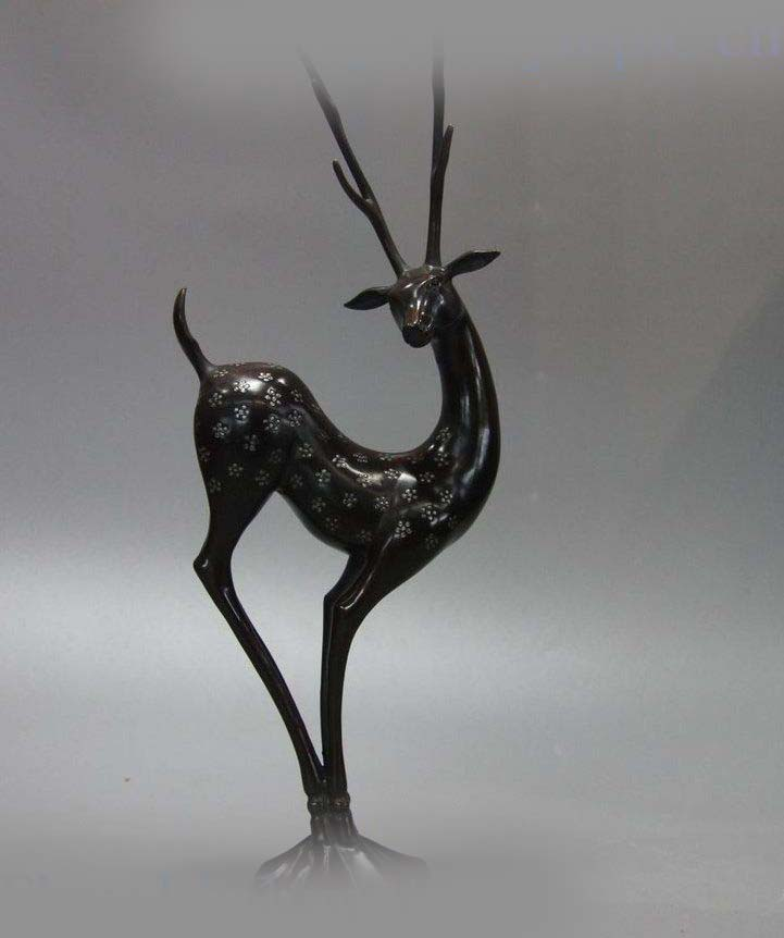 Free Shipping  15 China bronze sculpture carved feng shui copper beautiful Sika Deer Statue 8 china silver fine workmanship carved lucky money happy buddha on fish statue d0426