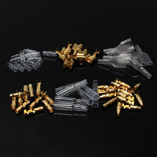 70set Motorcycle Connectors Insulation Covers Terminals 3.9mm Male/Female & Double Commonly used on car 144pcs 2 8mm electrical connector automotive motorcycle brass bullet connectors terminals repair kits with insulation covers