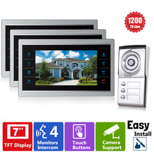 Homefong 3 Apartment/Family Video Door Phone Intercom System 1 Doorbell Camera with 3 button 3 Monitor Waterproof