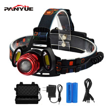 PANYUE 2000LM High Power led headlamp XM-L T6+2*COB Super Bright Waterproof USB Rechargeable Headlight Head lamp 18650 Battery panyue camping waterproof running head lamp light sensor headlamp xml t6 18650 usb rechargeable high power headlamp headlight
