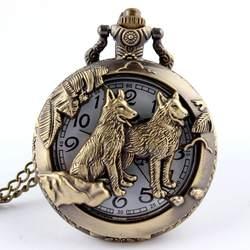 Ретро Бронзовый Волк полые Дизайн кварцевые карманные часы мужские для женщин цепочки и ожерелья кулон брелок с цепью стимпанк карманные