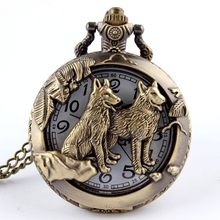 Retro Bronze Wolf Hollow Design Quartz Pocket Watch Mens Women Necklace Pendant FOB Chain Steampunk Pocket Watches Dropshipping(China)
