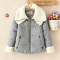 Fashion  Winter Women  Double Sherpa Leisure Collar Jacket Female Short Lady Zipper Outwear Cotton Coat