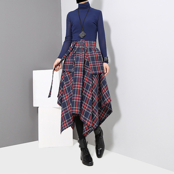 New 2019 Korean Style Women Winter Red Blue Plaid Skirt Split Checker Lady Irregular High Waist Casual Fashion Loose Skirt 3027 2