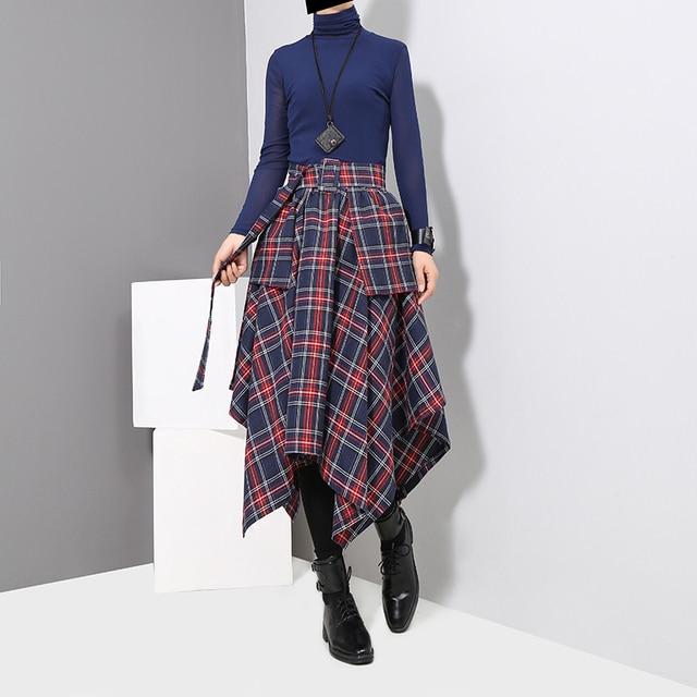 New 2019 Korean Style Women Winter Red Blue Plaid Skirt Split Checker Lady Irregular High Waist Casual Fashion Loose Skirt 3027 2
