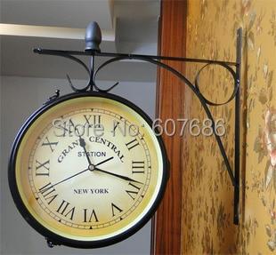 Cast Iron Indoor Outdoor Wall Clock Home Decorative Mounted Hanging Garden