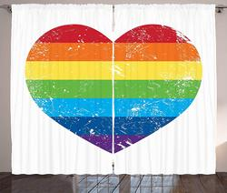 Vintage Rainbow zasłony kuchenne kształt serca z LGBT flaga projekt Gay Pride tematyczne obraz z efekt Retro okna zasłony