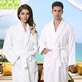 Белые хлопчатобумажные халаты сточных поглощая утолщение мягкие любителей халат
