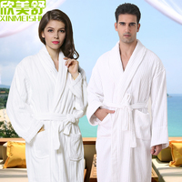 Top Brand stripe design white cotton bathrobes waste absorbing thickening soft lovers bathrobe