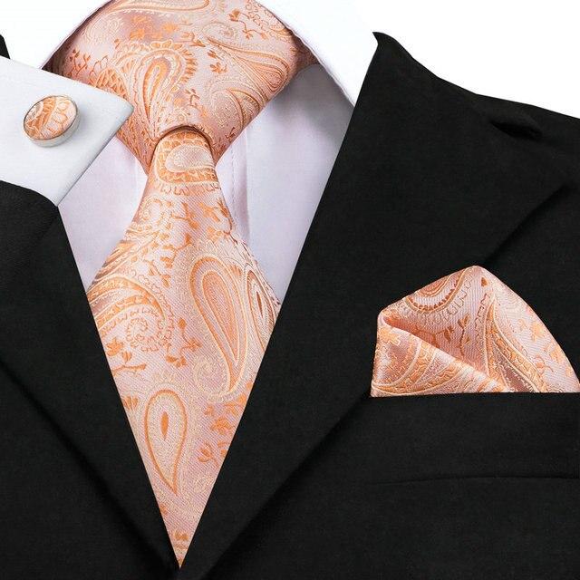 e928c4b82870 Hi-Tie Popular Coral Pink Color Wedding Tie Set Silk Necktie Pocket Square  Cufflinks Set