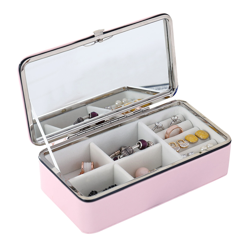 PU Leather Makeup Organizers Women Earring Ring Jewelry Box Necklace Display Case Bathroom Home Storage Organization Accessories