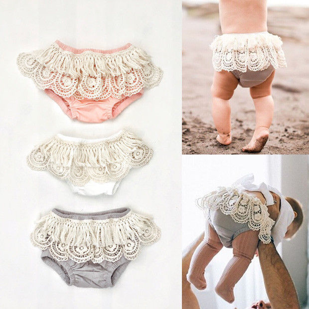 Baby Toddler Girls Lace Bloomers Ruffle Panties Briefs Shorts Diaper Nappy Pants