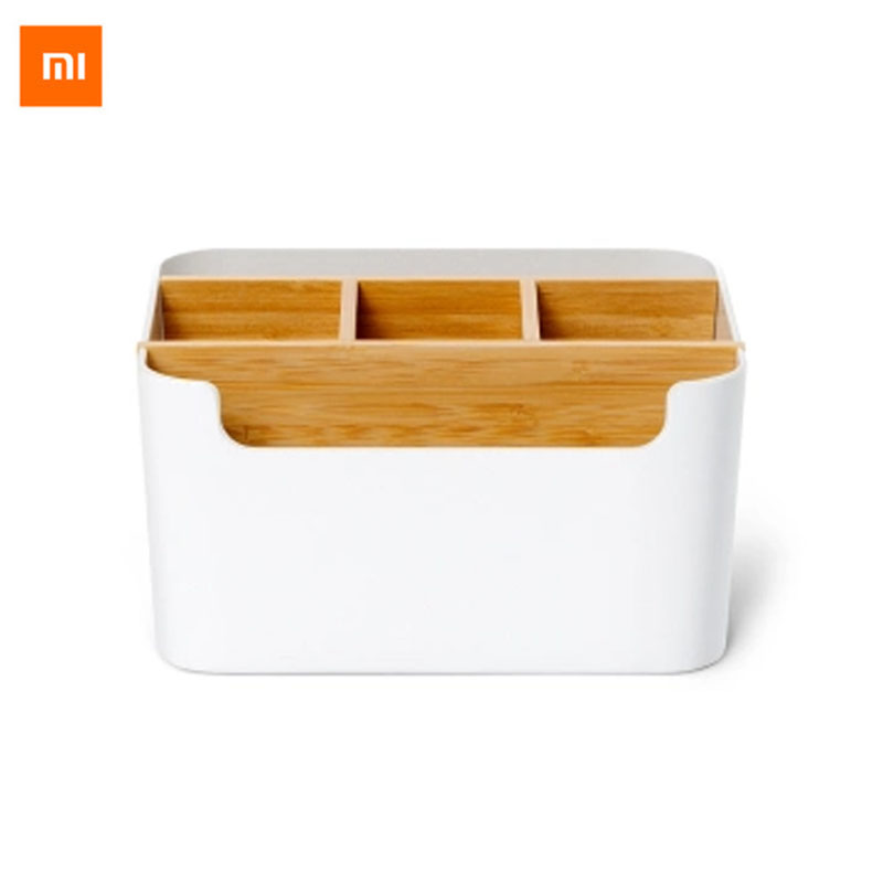 Original Xiaomi Mijia Bamboo Fibre Detachable Organiser Box Sub-grid Design Cosmetic Storage Box Portable Case for Bathroom original xiaomi mijia hl bathroom 5 in1 sets for soap tooth hook storage box and phone holder for bathroom shower room tool