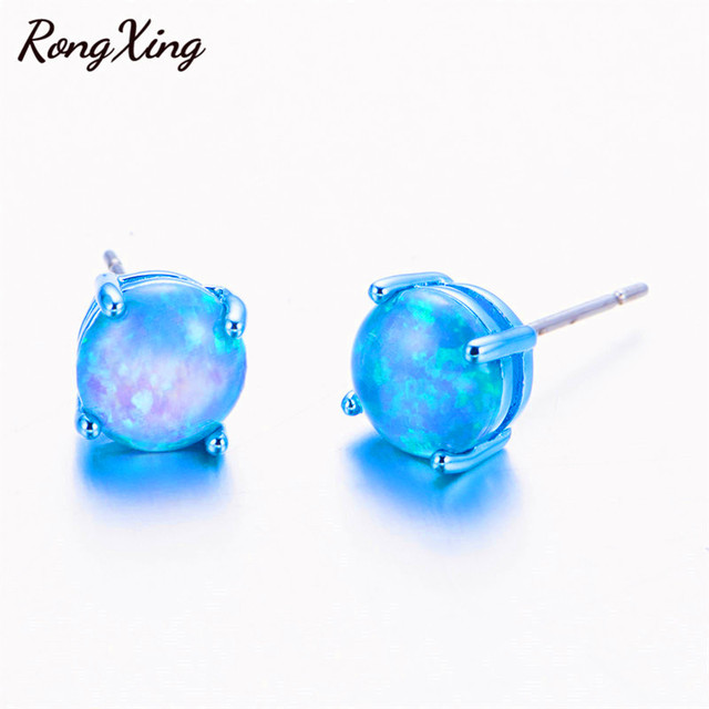 Rongxing Vintage Punk Blue Gold Filled Fire Opal Stud Earrings For Women Men Fashion Jewelry Earring Gift Ear0695