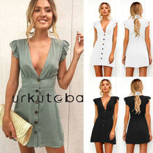 цена на Women Deep V-neck Petal Sleeve Blouse Party Evening Short Mini Dress