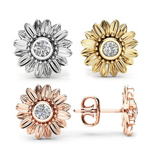 Classic Sunflower Stud Earrings for Women Exquisite AAA+ Cubic Zirconia Wedding Jewelry Party Gifts Dropshipping недорого