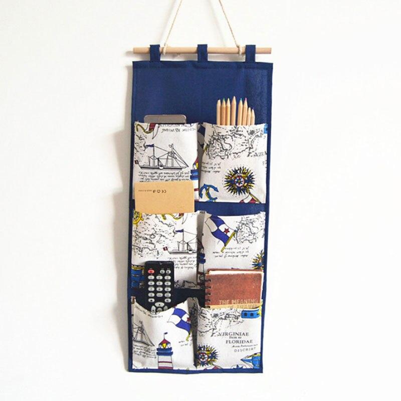 6 Pockets Storage Bag Wall Door Closet Hanging Bag Linen Cotton Fabric British Style Organizer For Bathroom Bedroom|Hanging Organizers| |  - title=