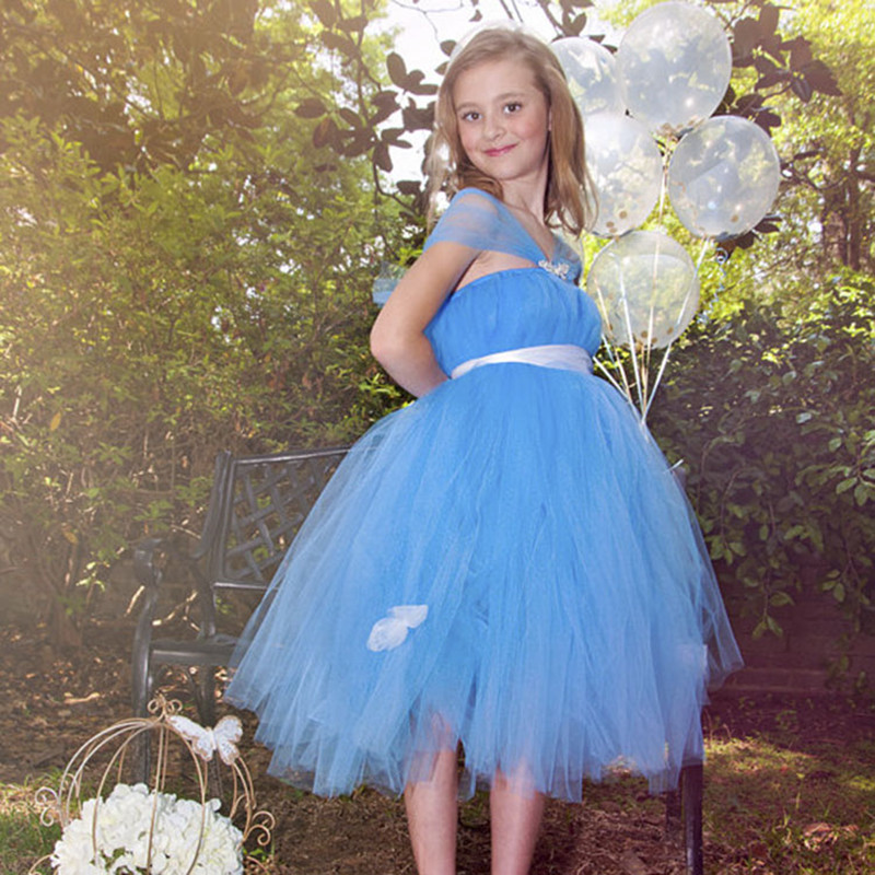 2 10T Halter styles Cute Cinderella Princess dress Dresses for girls Christmas Children clothing with Blue