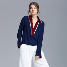 Women Silk Blouse Fashion Long Sleeve Shirt 2017 Spring and Summer OL Lady Casual turndown Collar