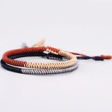 4ece4394ebcf DIEZI 2 colores Multicolor hecho a mano tibetano budista trenzado de cuerda  pulseras para hombres mujeres nudo pulsera de la sue.