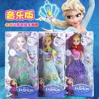 1 pcs Da Disney 30 cm Boneca de Neve e Gelo Princesa Congelado Elsa Anna com Bonecas de Música de Plástico para o Aniversário Das Crianças presente