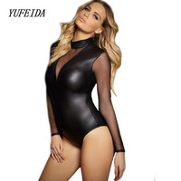 Sexy Patent Leather Bodysuit For Women Polish Long Sleeve Mesh PU Patent Leather Bodysuit Leotard Sexy