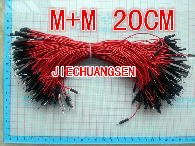 200pcs/lot New 1p to 1p 20cm RED color male to male jumper wire Dupont cable 7 strands of copper conductor