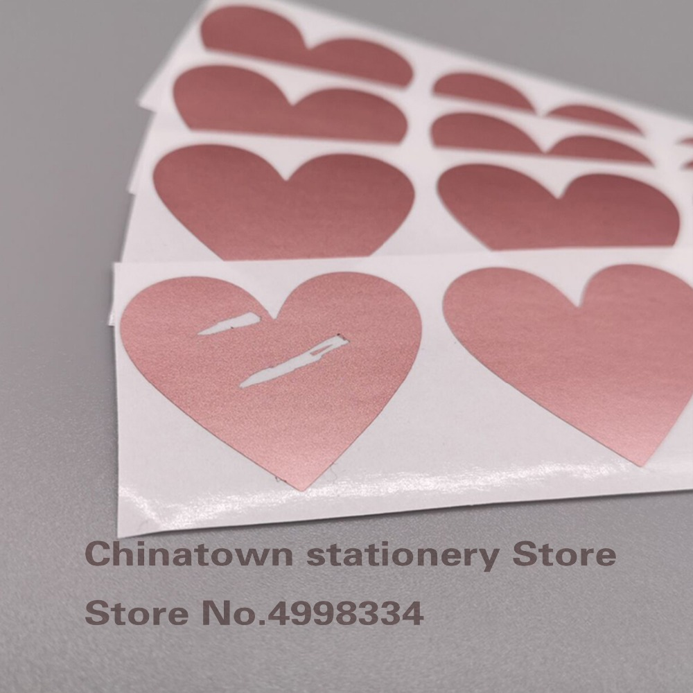 200pcs Scratch Off Stickers 30x35mm Love Heart Shape  Rosd Gold Color Blank For Secret Code Cover Home Game Wedding Message