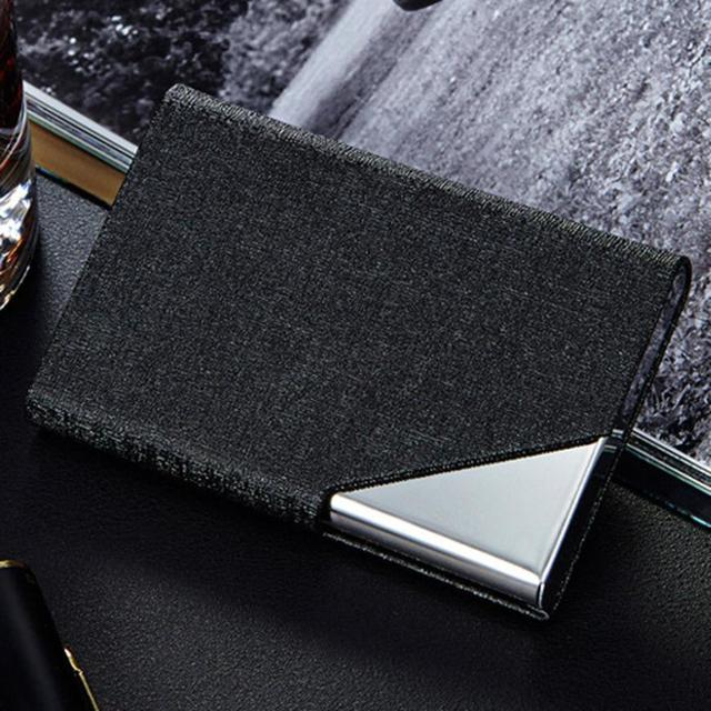 Credit card holder stainless pocket id credit case pu leather credit card holder stainless pocket id credit case pu leather stainless steel metal wallet business card reheart Images