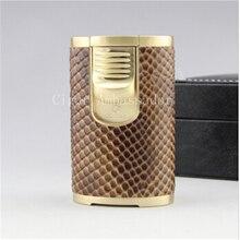 Or COHIBA Pilier Emulational peau Motif Coupe-Vent Puissant 4 Torch Jet Flamme allume-cigare